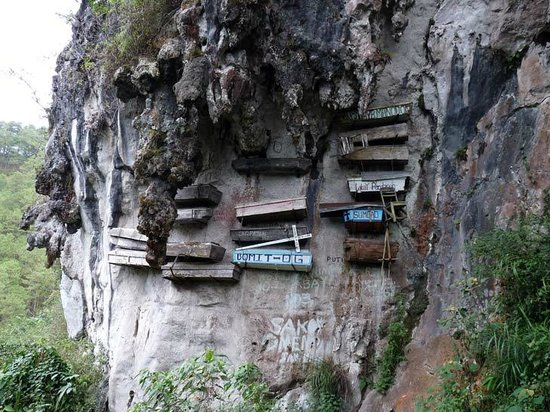 "Cercueil suspendus de Sagada : ""The Cliff Limestone Hanging Coffins"""