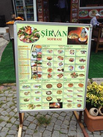 Sirvan Sofrasi: The menu