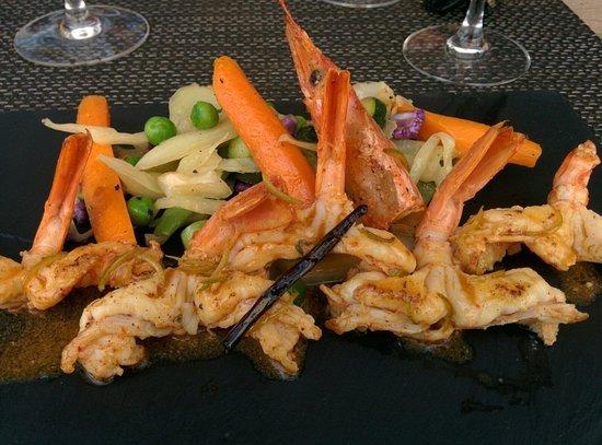 Restaurant La Cote d'Argent: Gambas sauce vanille et citronnelle, très bon