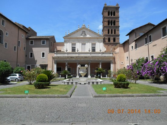 Santa Maria in Trastevere: seen from the outside - and the lovely little courtyard