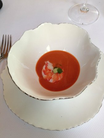 Bellevue : the chef's muse....shrimp with gazpacho