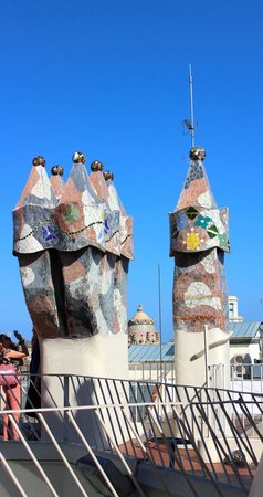 Casa Batlló: The colourful chimneys and smoke vents