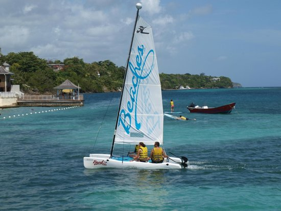 Beaches Ocho Rios Resort & Golf Club : My family sailing on a Hobie Cat!