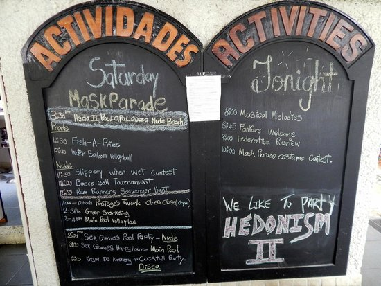 Hedonism II : Sample daily activities posted in the dining area