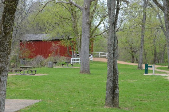 Sandy Creek Covered Bridge State Historic Site: spring time at the covered bridge