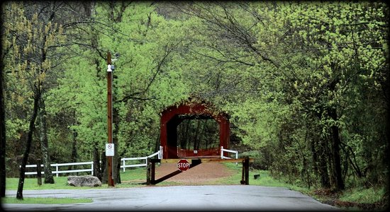 Sandy Creek Covered Bridge State Historic Site: beautiful springtime at the sandy creek covered bridge