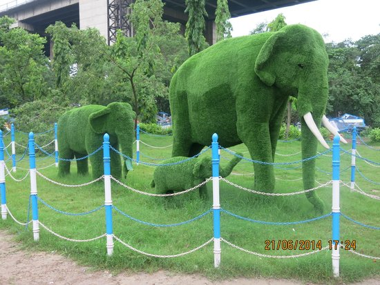 Prinsep Ghat : Elephant family in Grass.
