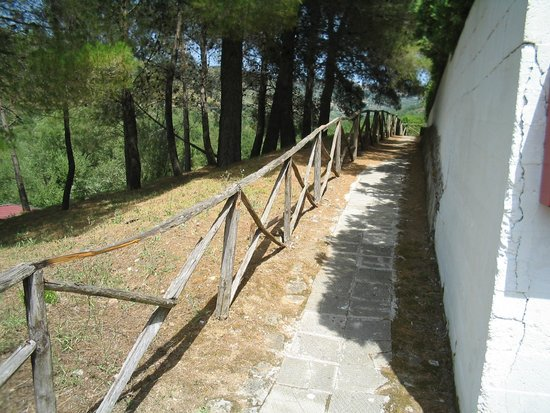 Villaggio Turistico Parco Elena: Passaggio pedonale con mattoni sollevati e passamano malandato