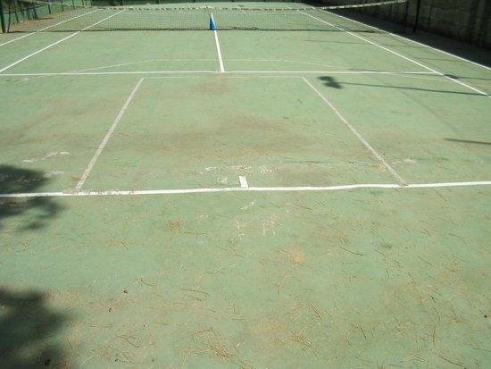 Villaggio Turistico Parco Elena: Campo da tennis con ramoscello e birillo al centro