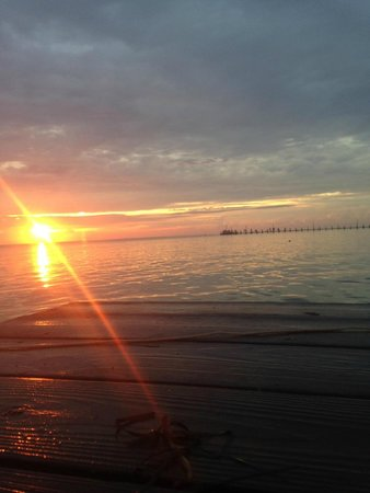 Cherrystone Family Camping Resort : View from one pier to another at sunset