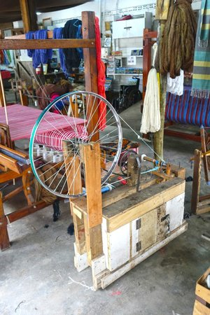 Shanga & Shanga Foundation: A spinning wheel made from bicycle part.