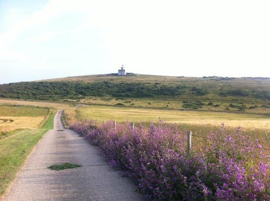 Belle Tout Lighthouse: walk to the resteraunt with light house in background