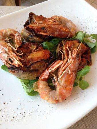 Agrihotel Morada Restaurant: gamberoni con tortino di melanzana