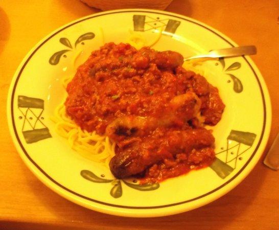 Olive Garden : Spaghetti saucisses / 14 juin 2014.