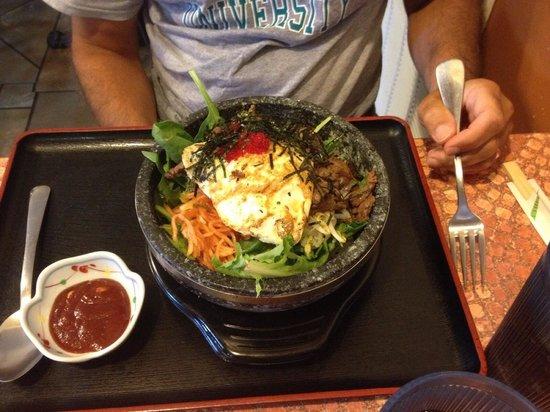 SoBaya Japanese Bistro: The Bibimbap served in a hot stone bowl