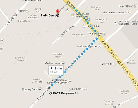 Best Western The Boltons : You can see here on the map how easy it is to get to the hotel from the train station...