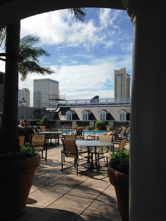 Omni Royal Orleans: View from rooftop bar out to pool