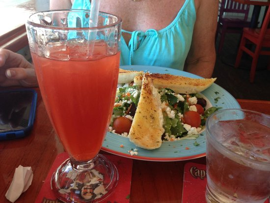 The Green House: A delightful salad and cold rum punch.