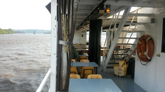 Dubuque River Rides: Inside the boot on the bottom level.