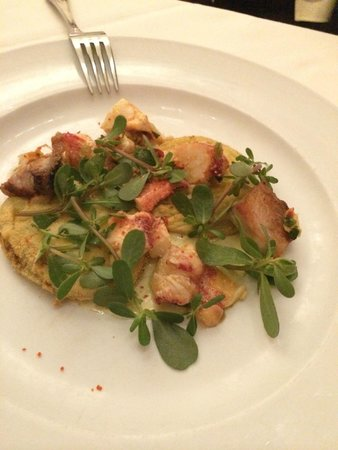 Union Square Cafe: fried green tomatoes with cool lobster & pork belly