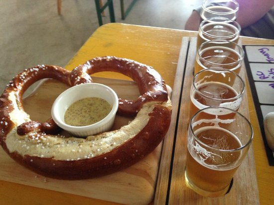 Lost Rhino Brewing Company: Imported half-baked German pretzels & samples of local brews