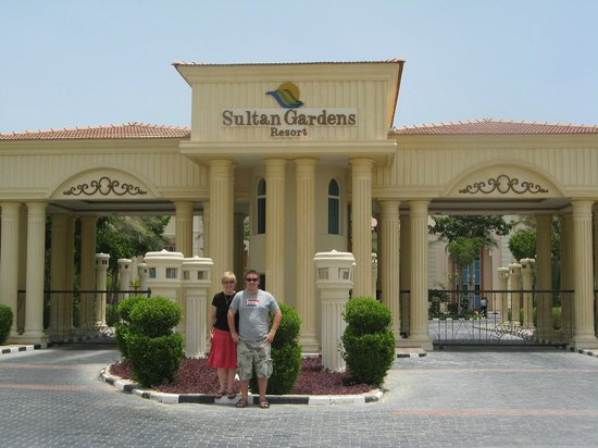 Sultan Gardens Resort: my wife (Maxine) and eldest son (Ollie)