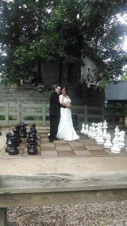 Ravenwood Castle : One of our wedding photos- the Oversized chess board