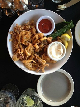 Hotel Sutter: Calamari with lemon garlic aioli - and bits of lemon fried also - Delish