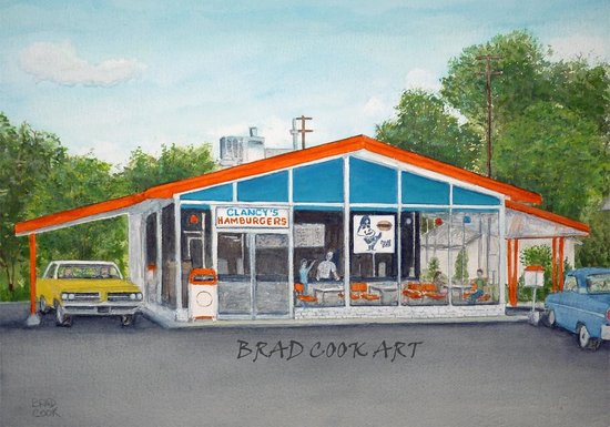 Clancy's Hamburgers: Original Building Painting