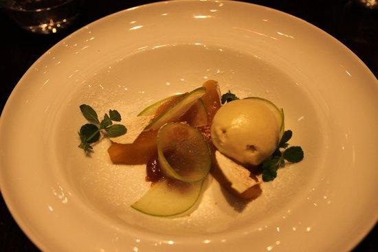 Mlýnec Restaurant : Deconstructed Apple Crumble, Apple ice cream, Walnuts, Caramel, Raisins, Cinnamon