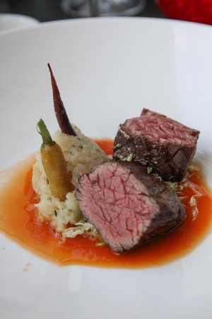 "Mlýnec Restaurant : Grilled Angus Flap Steak, Carrots, Baked Celery, Cabbage, Carrot ""Jus"""