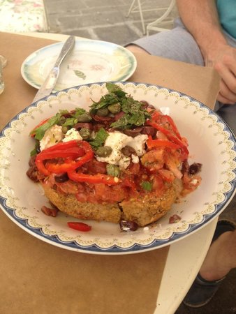 Pane e Souvlaki: 'Rusk and sour cheese salad' - delicious, in spite of the name!