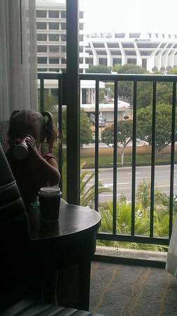 """Newport Beach Marriott Hotel & Spa: My two year-old having her morning """"coffee""""."""