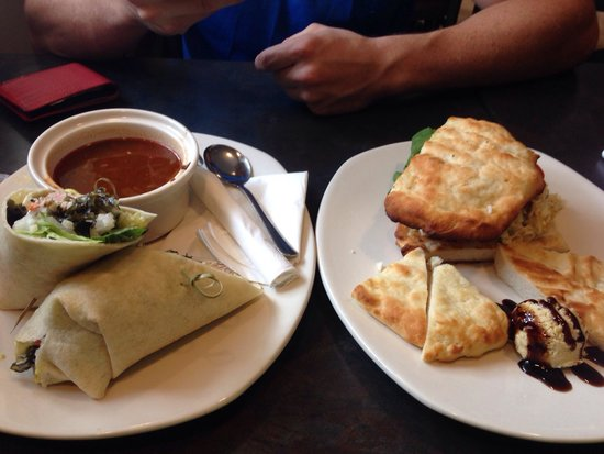Terra Cafe: Veggie soup, the special with gluten free bread and hummus, and tuna wrap