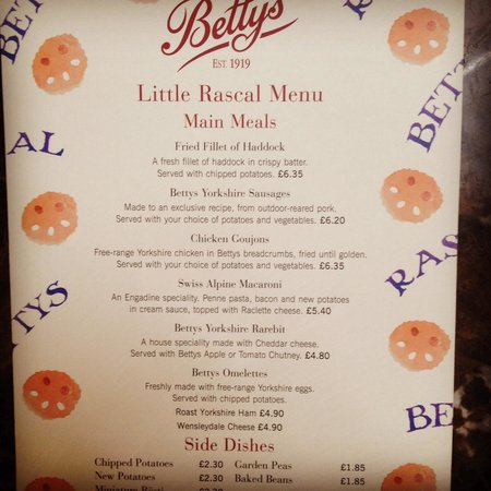 Bettys Cafe Tea Rooms: Nice kids menu