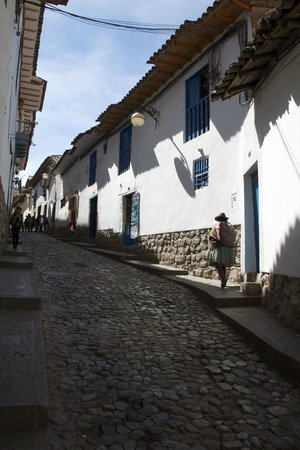 street leading to Amaru Hostal I (uphill on the left)