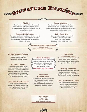 Pack's Tavern: Menu Page 1