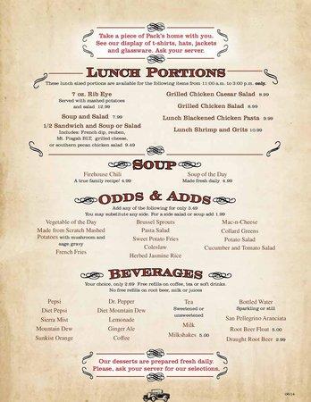 Pack's Tavern: Menu Page 4