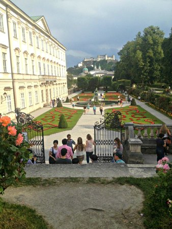 Mirabell Palace and Gardens: view through the gardens to the fortress on the Monchberg