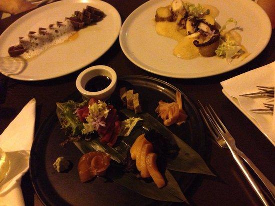 Alea: Tataki de atún, pulpo al curry y sashimi combinado
