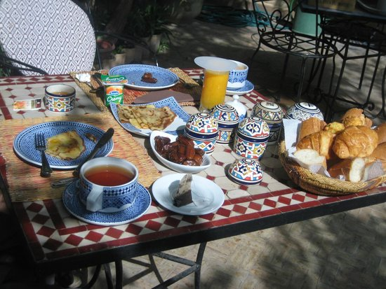 Ryad Mabrouka: Breakfast in the garden - loved the sweet potato jam!