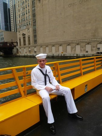 Chicago Water Taxi: My new Navy Grad enjoying the water taxi!