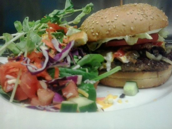 Cow Cafe: Cow Classic Burger Deluxe with a Green Salad