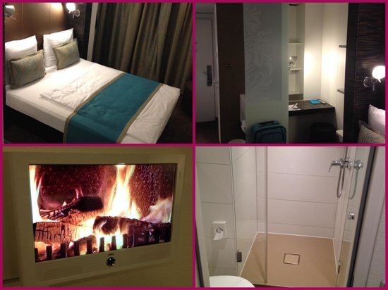 Motel One Frankfurt-Niederrad: Superschönes Zimmer incl. ausreichender Arbeits-Nische. Großes, gemütliches Bett.