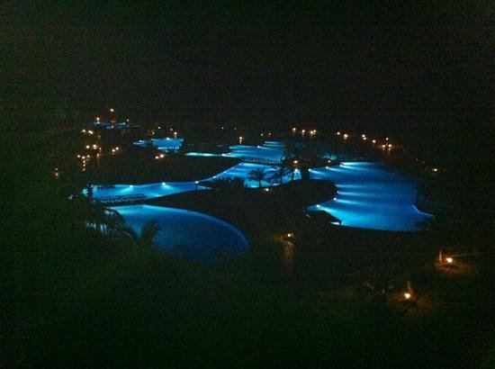 La Palma Princess & Teneguia Princess: the pools at night from room 5206
