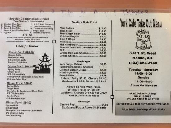Take out menu picture of york restaurant hanna for Take out menu
