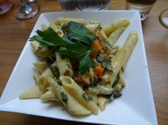 The Glass House: penne with squash and pumpkin seeds