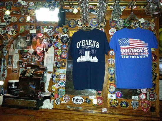 O'Hara's Restaurant and Pub : T-shirts available at O'Hara's and patches from all over