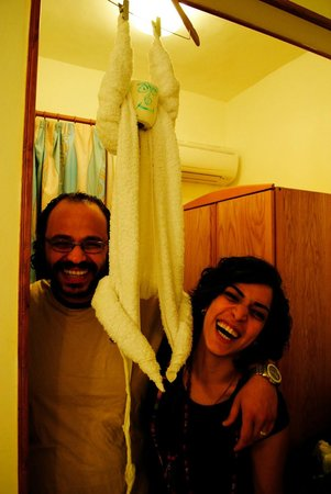 Acacia Dahab Hotel: Me & My Husband with the Origami Monkey Towel