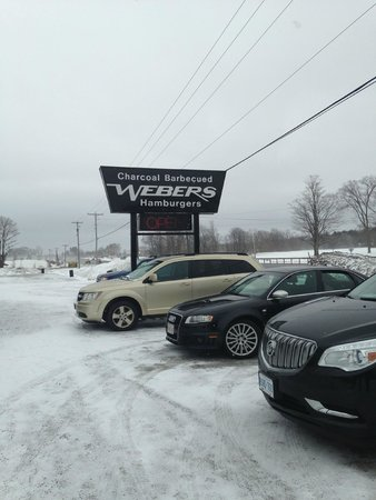 Webers Charcoal Barbecued Hamburgers: A snowy view of the parking lot!